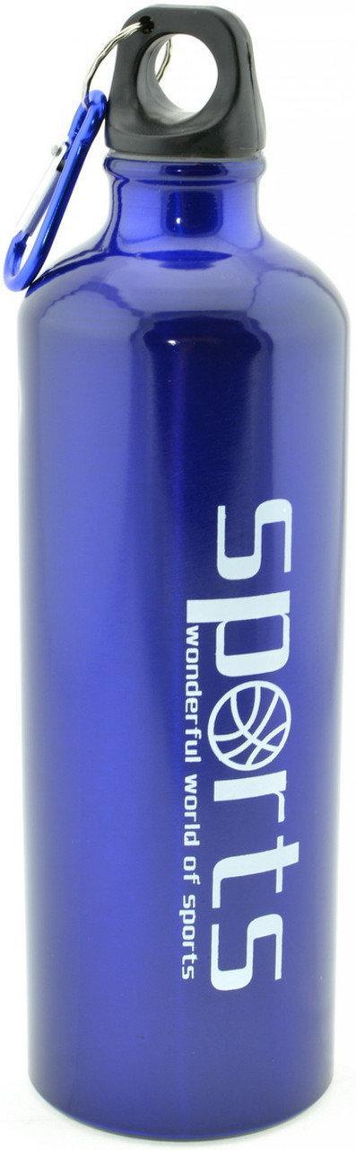 Алюминиевая бутылка Sports 8003-750 с карабином 750мл синяя