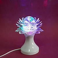 🔝 Настольный светодиодный светильник, Лотос, RHD-21, Белый, детский 3Д ночник в розетку, вращающийся | 🎁%🚚