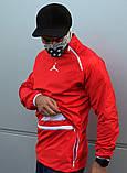 Мужской весенний анорак (ветровка) Jordan красный1, фото 6