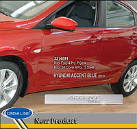 Hyundai Accent Solaris 2011-2017 гг. Накладки на пороги OmsaLine Accent Blue (4 шт, нерж)