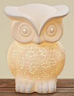 Лампа Сова белая керамика h25см цена за 1шт.