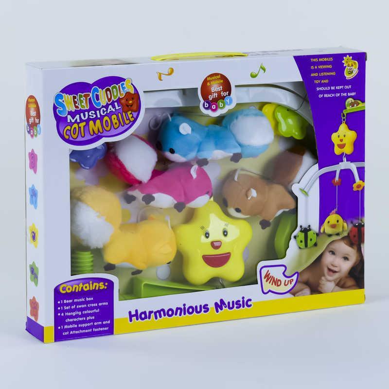 Карусель D 090 (36) музыкальная, заводной механизм, мягкие игрушки, в коробке