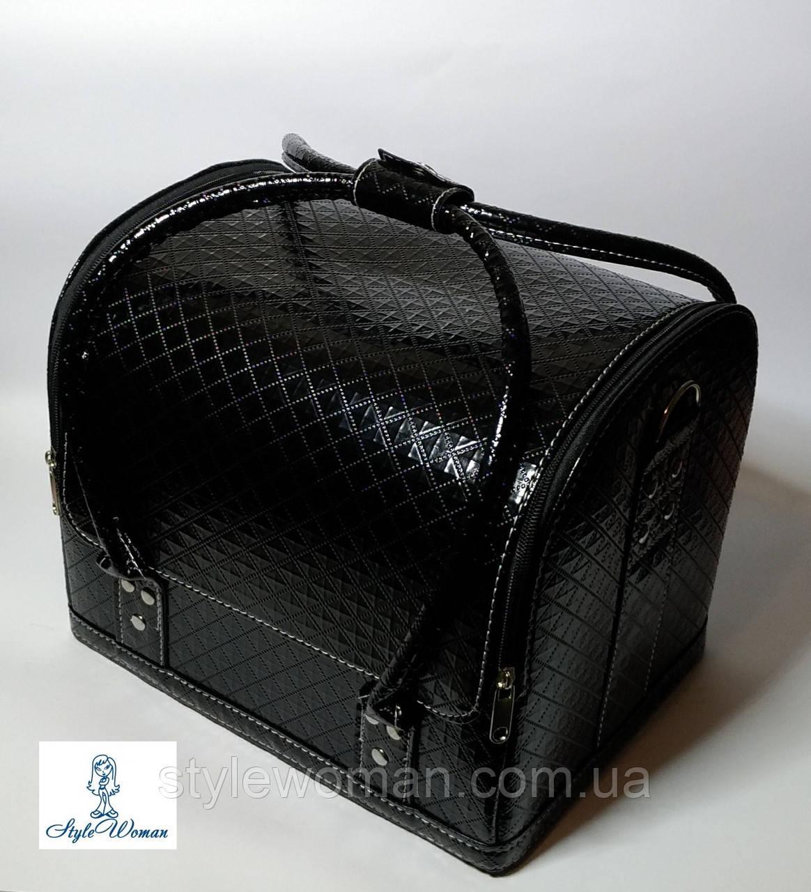 Бьюти кейс чемодан для мастера салонов красоты из кожзама на змейке черный ромб кроко
