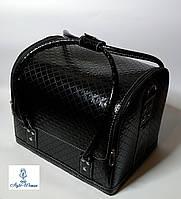 Бьюти кейс чемодан для мастера салонов красоты из кожзама на змейке черный ромб кроко, фото 1