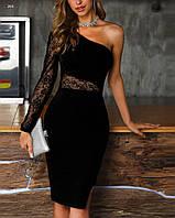 Платье вечернее кружевное на один рукав  42 44 46 48 50 52 54 56 58 60  размер