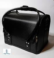 Бьюти кейс чемодан для мастера салонов красоты из кожзама на змейке черный карбон