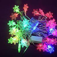 Новогодняя гирлянда с фигурками, снежинки 40 LED
