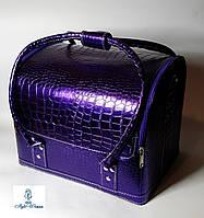 Бьюти кейс чемодан для мастера салонов красоты из кожзама на змейке фиолетовый неон кроко