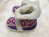 Чуні з натуральної овечий вовни з вишивкою на кожаний підошви, фото 6
