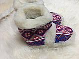 Чуні з натуральної овечий вовни з вишивкою на кожаний підошви, фото 2