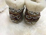 Чуні з натуральної овечий вовни з вишивкою на кожаний підошви, фото 4
