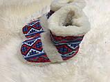 Чуні з натуральної овечий вовни з вишивкою на кожаний підошви, фото 8