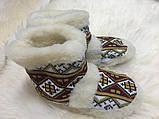 Чуні з натуральної овечий вовни з вишивкою на кожаний підошви, фото 9