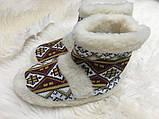 Чуні з натуральної овечий вовни з вишивкою на кожаний підошви, фото 10