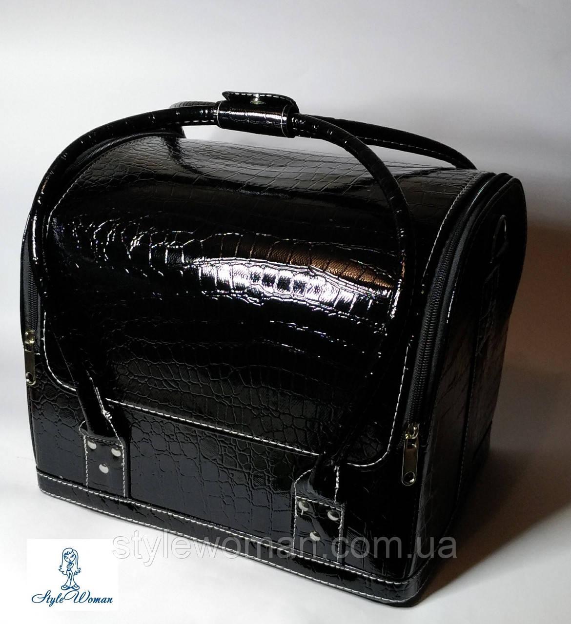 Бьюти кейс чемодан для мастера салонов красоты из кожзама на змейке черный кроко с пластик полками