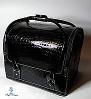 Бьюти кейс чемодан для мастера салонов красоты из кожзама на змейке черный кроко с пластик полками, фото 1