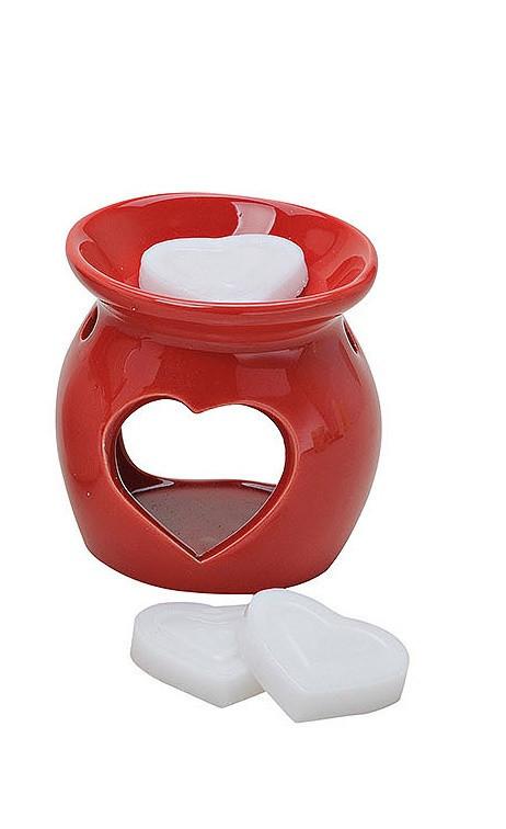 Аромалампа с 3-мя ароматическими свечами сердечками, керамика 8X7см цена за 1шт.