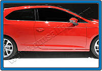 Seat Leon 2013+ гг. Молдинг боковых стекол (3 дверный, 6 шт, нерж)