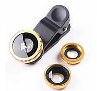 Линзы для телефона (объективы) 3 в 1 - FishEye, Super Wide, макро Selfie Cam Lens золотистые