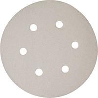 Набор белой шлифовальной бумаги на липучке 150 мм К100 6 отверстий (10 шт.) (P-37683)