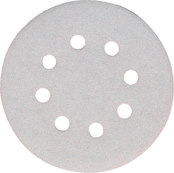 Набор белой шлифовальной бумаги на липучке 125 мм К240 8 отверстий (50 шт.) Makita (P-37443)