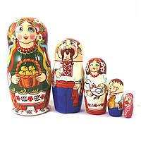 Матрёшка девочка украинка из 5-ти 16 см цена за 1шт.