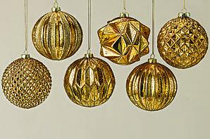 Набор новогодних шаров из 6шт.  золотого цвета