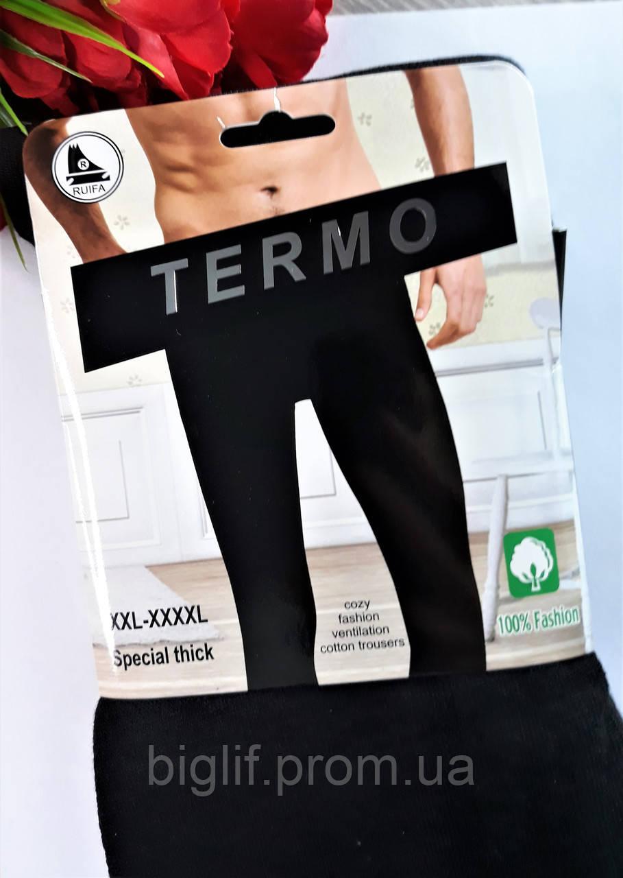Термо лосины мужские Ruifa хлопок с начесом очень теплые 2XL-4XL (50-54) черные (0905)