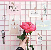 Настенный органайзер Мудборд (moodboard) доска визуализации и планирования, Прямоугольная 30*60 см, (розовый)