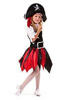 Детские карнавальный костюм для девочки «Дерзкая пиратка» 120-135 см, черно-красный
