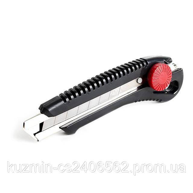 Нож с металлической направляющей под лезвие с винтовым фиксатором INTERTOOL HT-0502