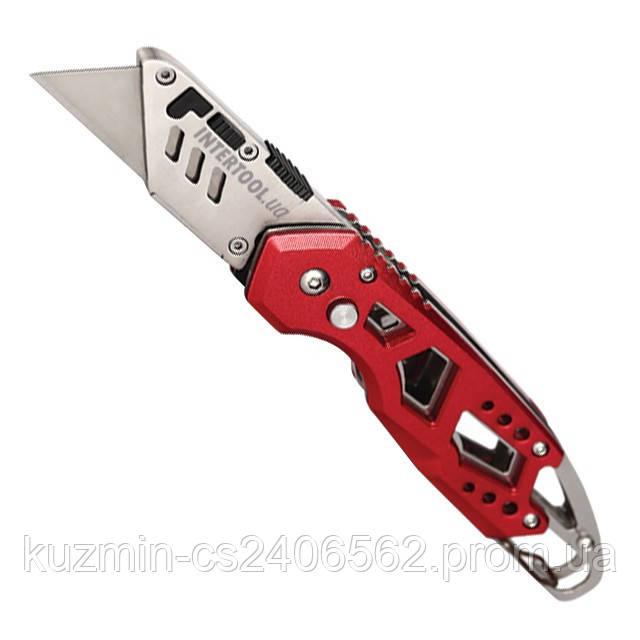 Нож строительный складной с трапециевидным лезвием, SK5, алюминиевая рукоятка, карабин INTERTOOL HT-0531
