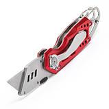 Нож строительный складной с трапециевидным лезвием, SK5, алюминиевая рукоятка, карабин INTERTOOL HT-0531, фото 6