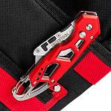 Нож строительный складной с трапециевидным лезвием, SK5, алюминиевая рукоятка, карабин INTERTOOL HT-0531, фото 8