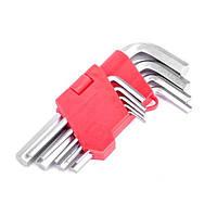 Набор Г-образных шестигранных ключей 9 шт., 1.5-10 мм, Cr-V INTERTOOL HT-0601
