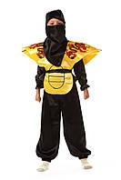 Детский карнавальный костюм для мальчика «Ниндзя» 115-125 см, 130-140 см,черно-желтый, фото 1