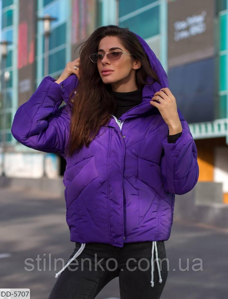 Куртка женская  съемный капюшон с воротником-стойкой на скрытых кнопках