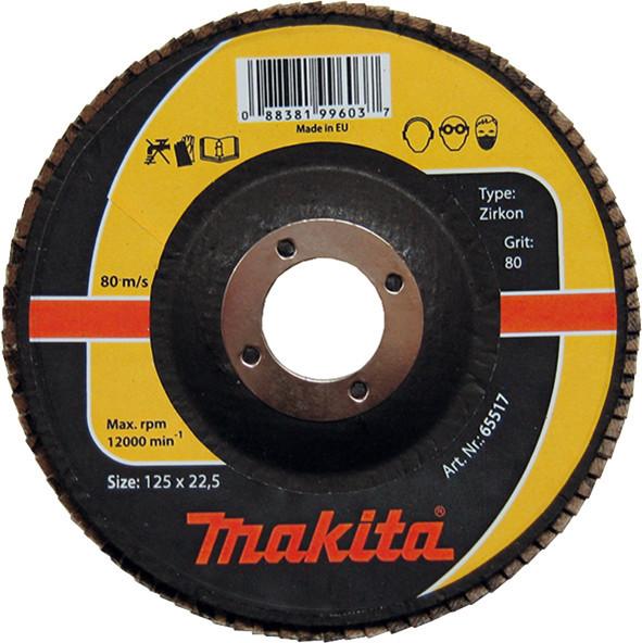 Лепестковый диск для нержавейки цирконий Makita 180 мм K60 (P-65589)