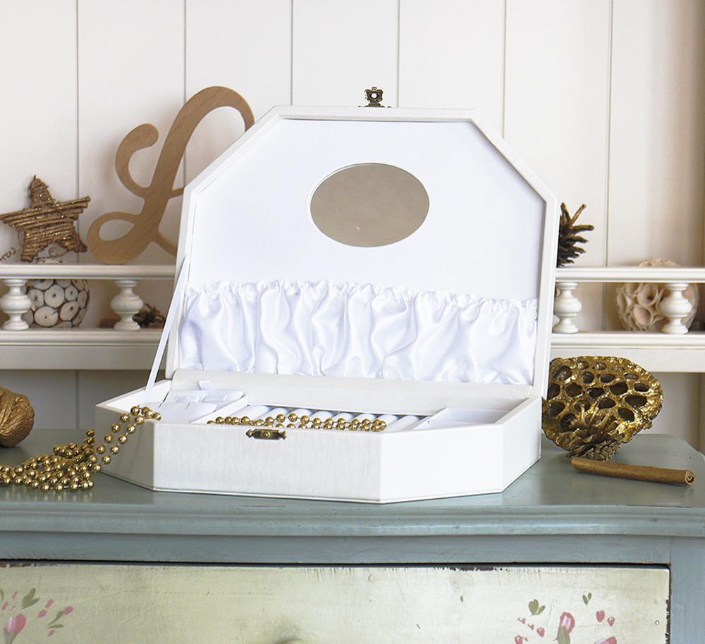 Шкатулка трапеция для ювелирных украшений 26*19*5,6 603440 молочная