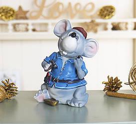Скарбничка мишка будівельник 10*15*8 см 026 A 063D