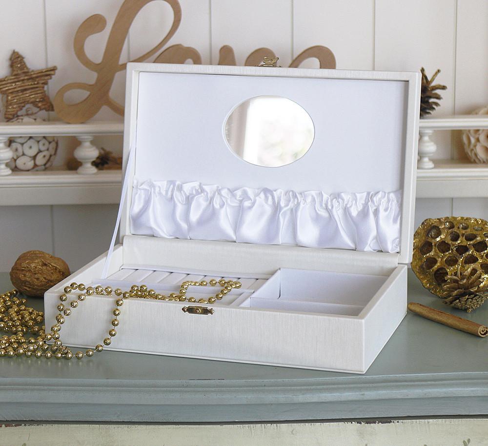 Шкатулка для ювелирных украшений 25*15*5,6 603411 молочная