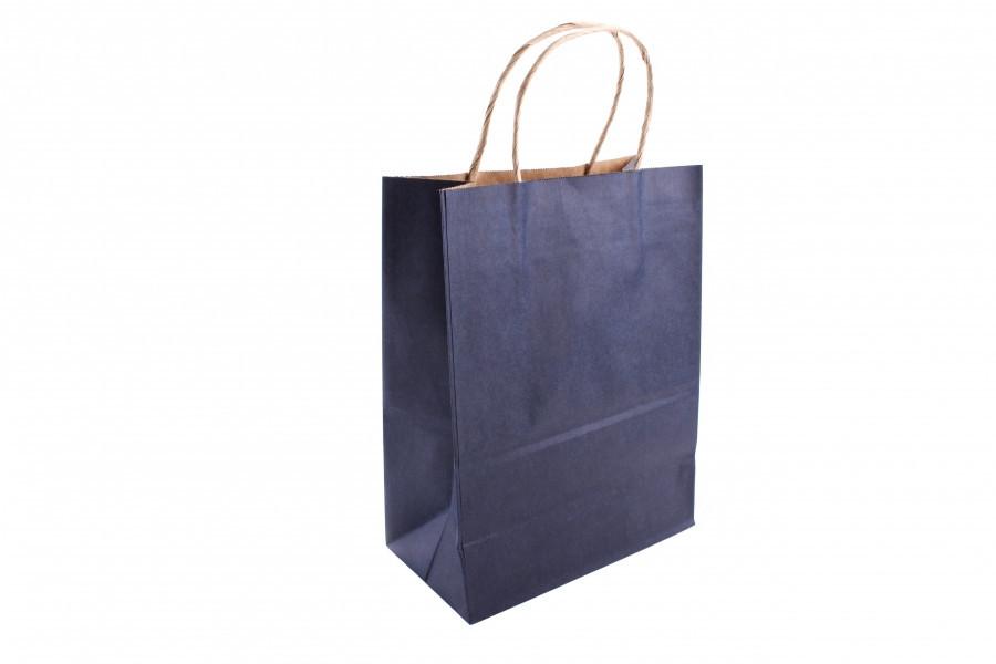 Подарочный пакет темно-синий 25*12*33 см 3-2636