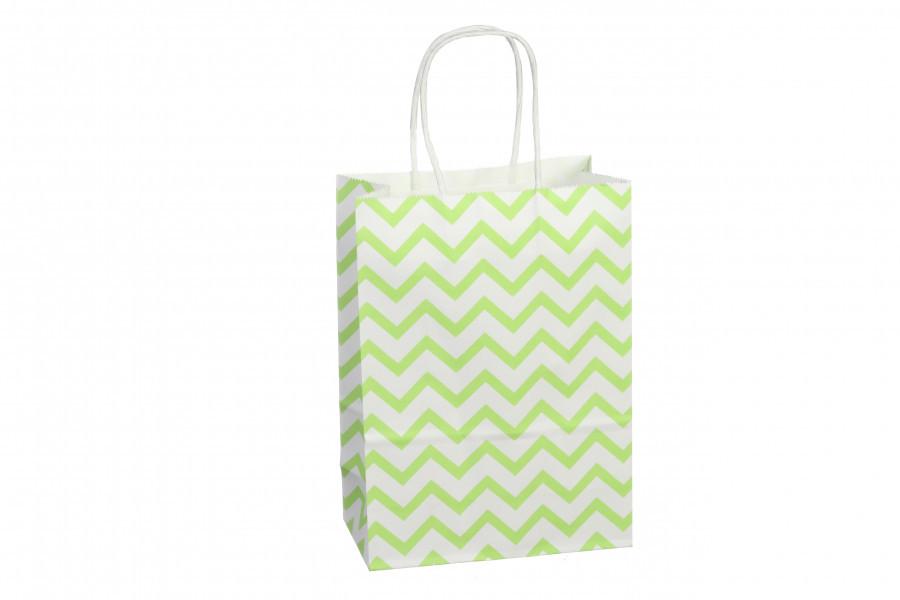 Подарочный пакет зеленый зигзаг 16*8*22 см 3-1904-175