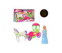 Карета DEFA 8423  с лошадью, 52см, кукла 30см, муз, свет, бат(таб), в кор-ке, 53,5-32-15см(DEFA 8423)