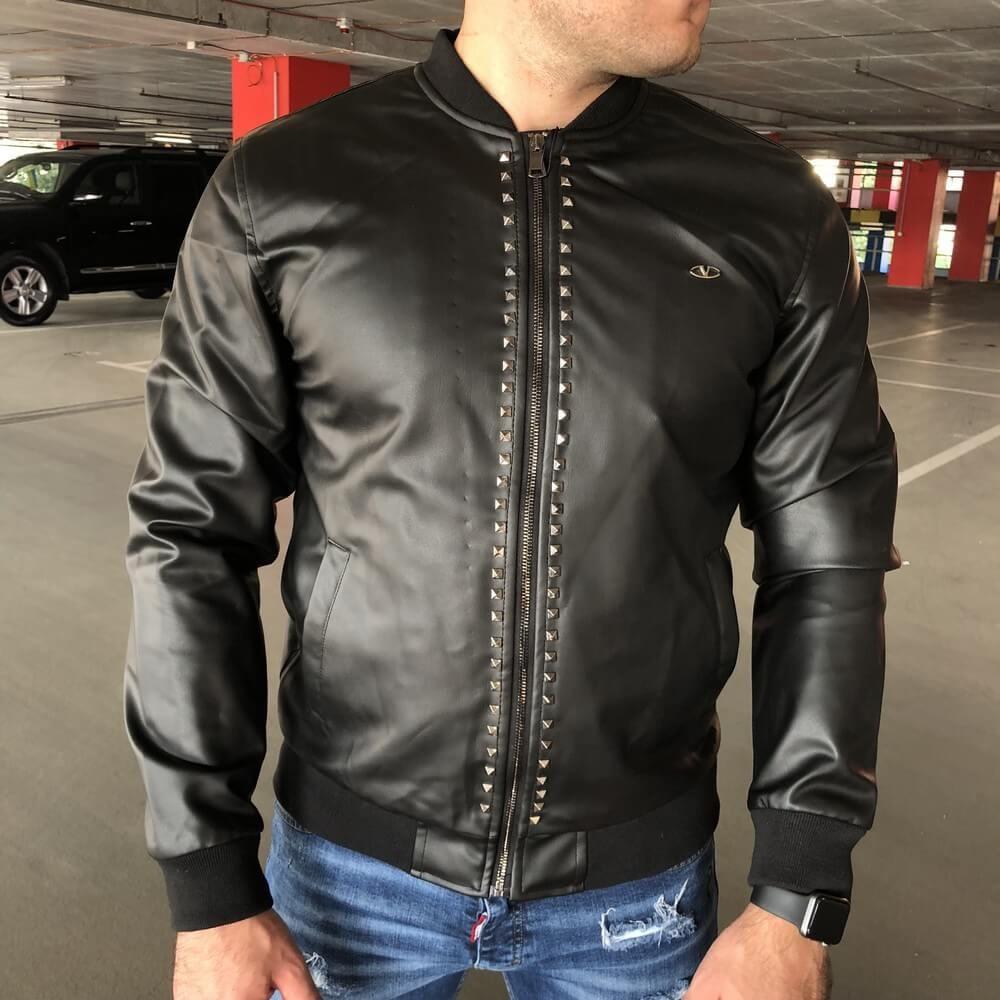 Мужская весенняя кожанная куртка/бомбер Valentino черная
