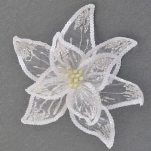 Декоративное украшение YES 750304 Квитка пуансетии Роскошь белая напивпроз. 23 * 23см (1)