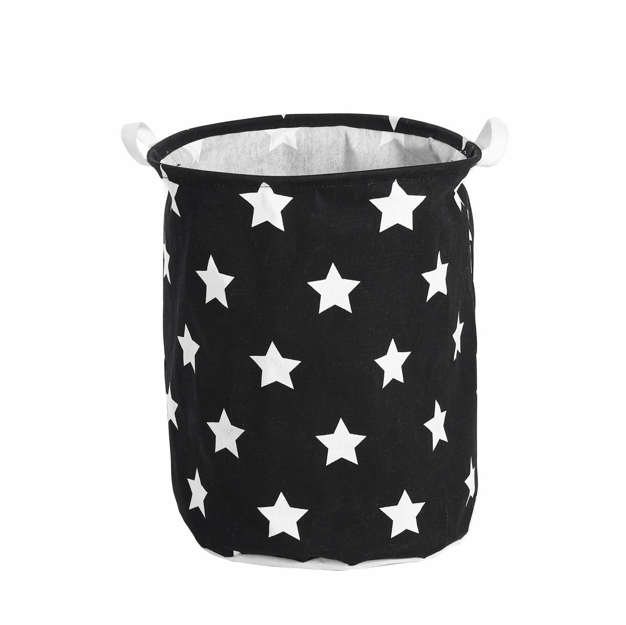 Текстильная корзина с ручками для игрушек, белья, хранения Звёздное небо Berni 39 x 47 см Черная (52304)