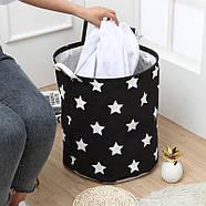 Текстильная корзина с ручками для игрушек, белья, хранения Звёздное небо Berni 39 x 47 см Черная (52304), фото 2