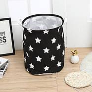 Текстильная корзина с ручками для игрушек, белья, хранения Звёздное небо Berni 39 x 47 см Черная (52304), фото 3