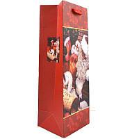 Пакет подарочный новогодн., 420х300х120мм, для бутылки, картон матовый с глиттером